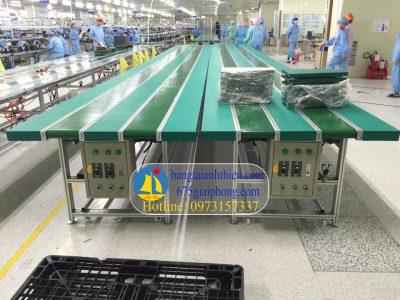 Băng tải pvc dùng cho các dây chuyền sản xuất linh kiện điện tử, dây chuyền sx may mặc