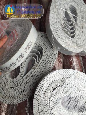 Dây curoa T5 chất liệu PU trắng lõi bố thép bản rộng 25 dài 2280