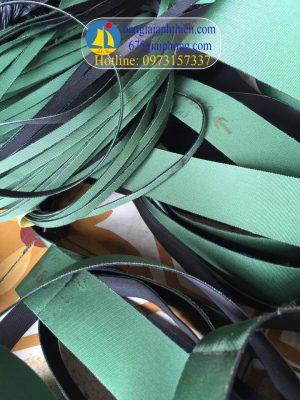 Dây đai dẹt xanh sẫm 2 mặt dày 1mm, đai dẹt 1 mặt xanh lá 1 mặt đen