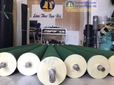Rulo phi 140 dài 2530mm bọc pvc xanh nhám caro dày 2mm dùng cuốn vải